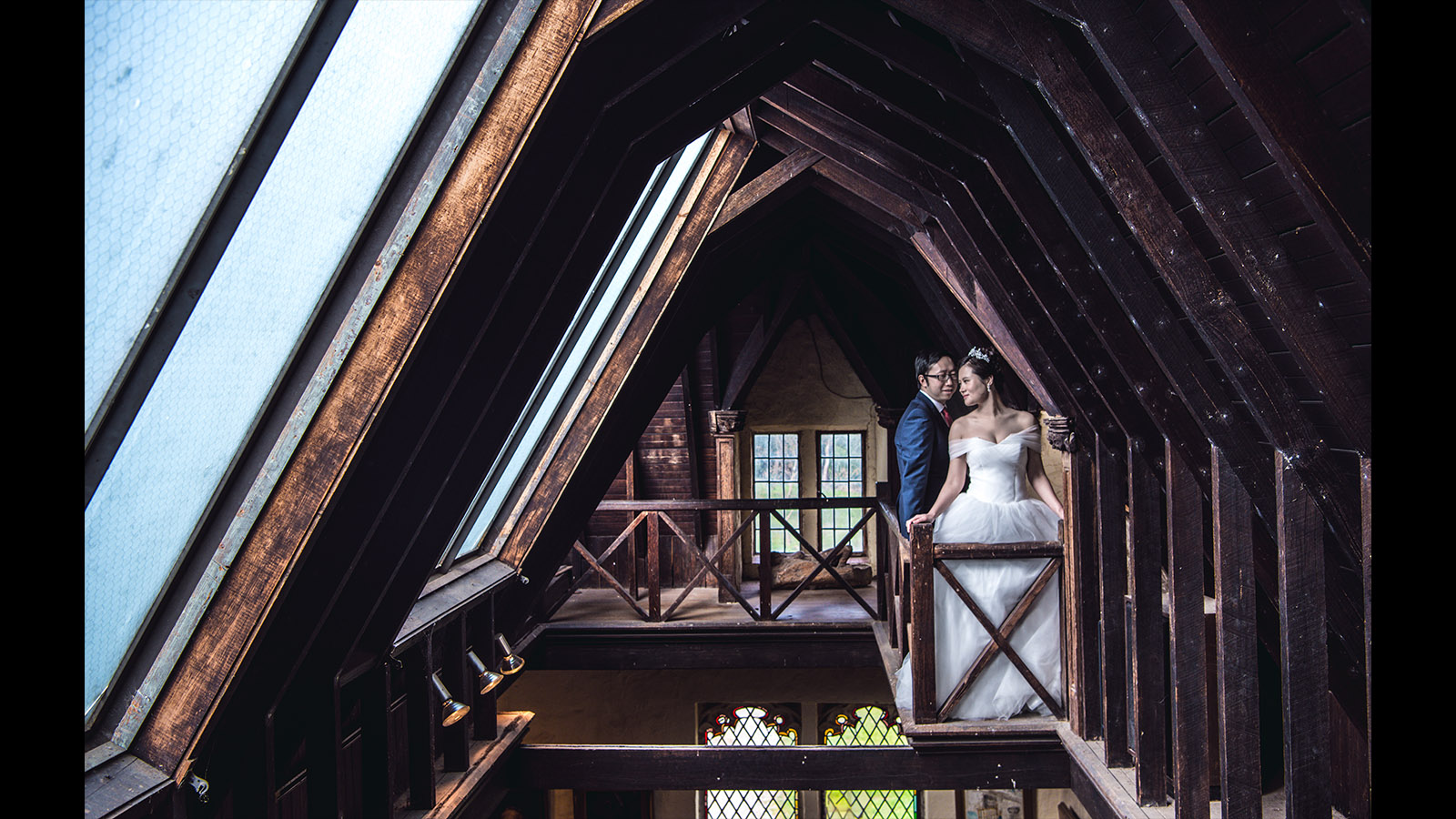 Bride-and-groom-in-the-Montsalvat-attic