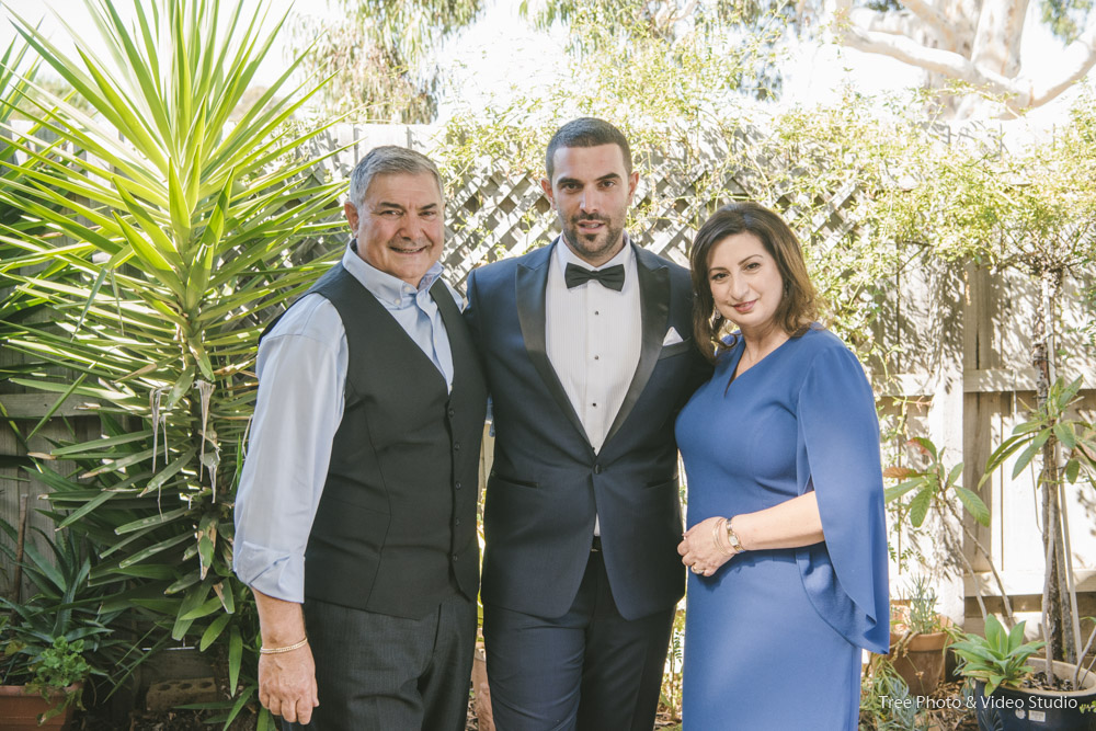 Wedding Family Photo for Groom with his parents