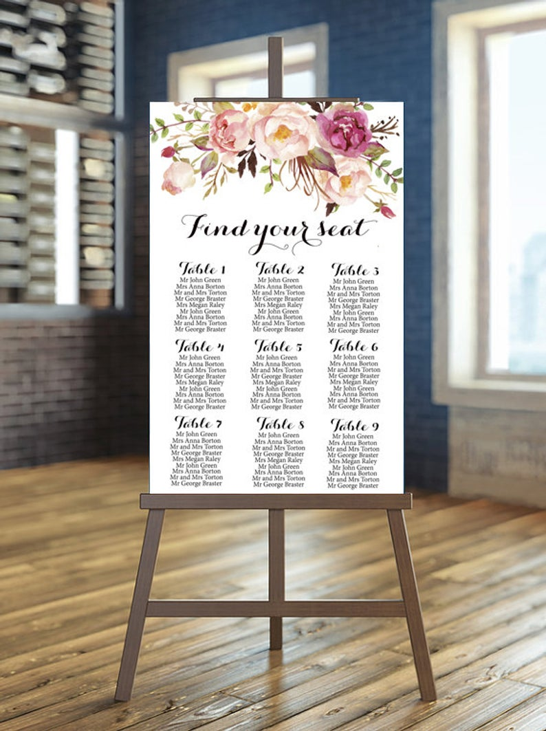 Wedding Guest list Board