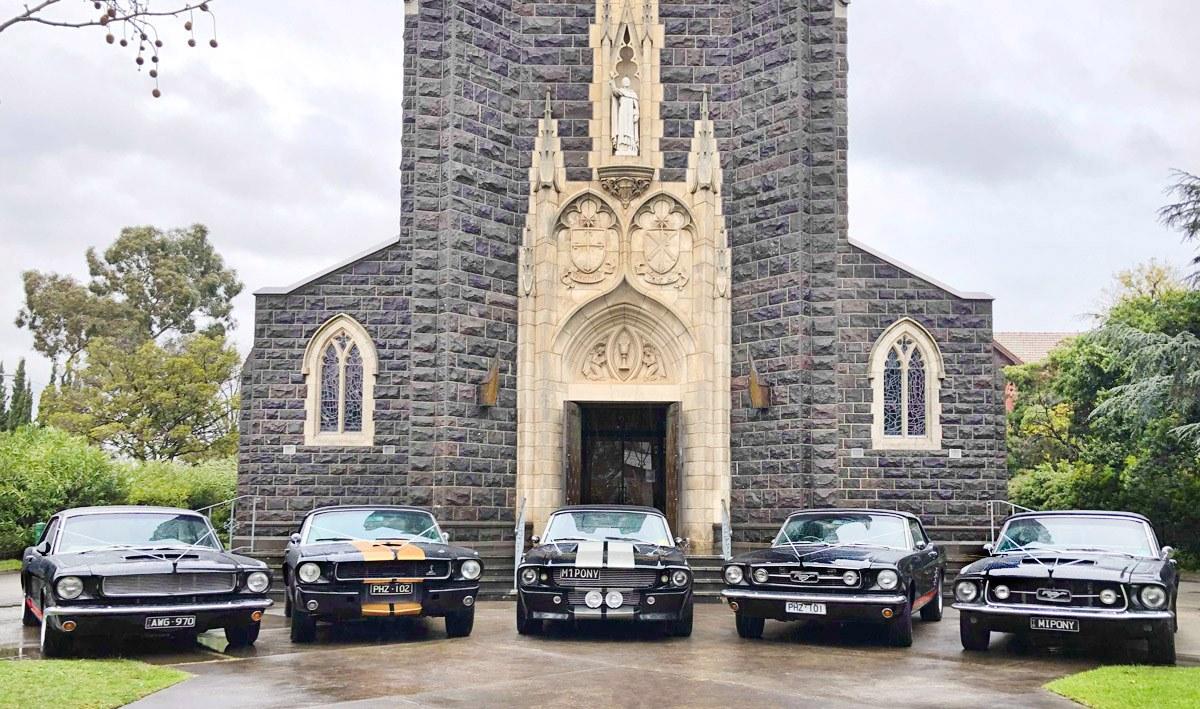 Mustangs in Black Wedding Car Hire In Melbourne
